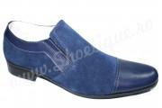 LICHIDARE DE STOC Pantofi bleumarin din piele naturala fara siret