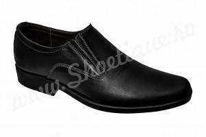 Pantofi din piele naturala negri fara siret