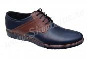 Pantofi din piele naturala bleumarin-maro de zi