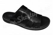 Papuci barbatesti negri din piele naturala
