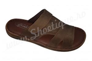 Papuci maro barbati din piele naturala