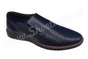 Pantofi de vara perforati piele naturala bleumarin