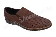 Pantofi de vara perforati piele naturala maro nabuc