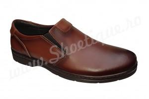 Pantofi usori lati piele naturala maro fara siret talpa EPA