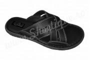 Papuci negri barbatesti din piele naturala