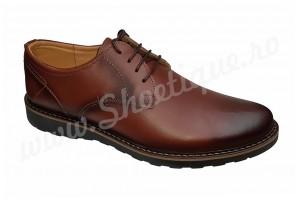 Pantofi cu siret din piele naturala maro