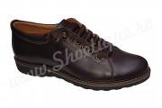 Pantofi maro cu siret ascuns din piele naturala