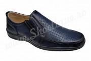 Pantofi usori lati piele naturala bleumarin perforata talpa EPA