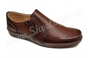 Pantofi usori lati piele naturala maro perforata talpa EPA