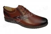 Pantofi casual maro cu siret din piele naturala