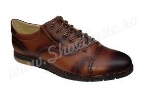 Pantofi casual maro antichizat din piele naturala