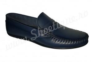 Mocasini-scarpi bleumarin din piele naturala
