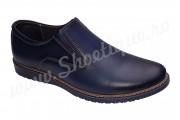 Pantofi albastri din piele naturala fara siret