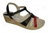 Sandale dama ortopedice din piele naturala negru-rosu-crem