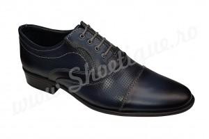 Pantofi barbatesti eleganti din piele naturala bleumarin