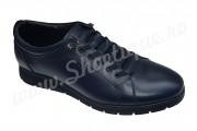 Pantofi bleumarin cu siret ascuns din piele naturala
