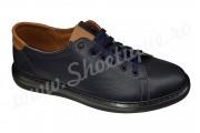 Pantofi sport barbatesti din piele naturala bleumarin-maro