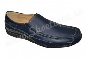 Pantofi cu lira din piele naturala fara siret albastri