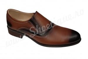 Pantofi eleganti din piele naturala maro-coniac