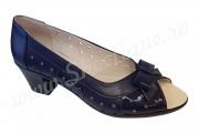 Pantofi dama de vara din piele naturala perforati cu toc bleumarin