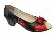 Pantofi dama de vara din piele naturala perforati cu toc negru-rosu