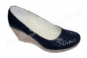 Pantofi bleumarin dama cu platforma din piele naturala croco