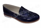 Pantof-balerin bleumarin inflorat din piele naturala