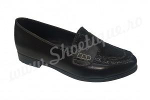Pantof-balerin negru din piele naturala