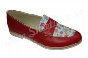 Pantof-balerin rosu inflorat din piele naturala