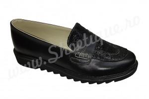 Pantof-balerin dama negru din piele naturala