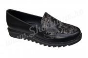 Pantof-balerin negru dame din piele naturala
