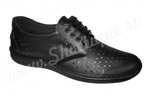 Pantofi usori lati piele naturala perforata negri talpa EPA 45 si 46