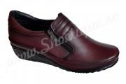 Pantofi dama ortopedici visinii din piele naturala
