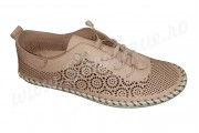 Pantofi dama din piele naturala decupata crem