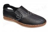 Pantofi usori din piele naturala perforata negri
