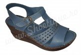 Sandale dama din piele naturala cu platforma albastru