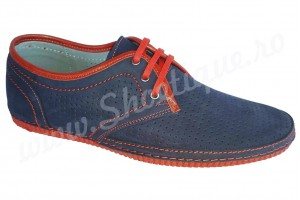 ULTIMA PERECHE Pantofi piele naturala nabuc bleumarin-rosu