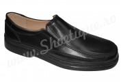 Pantofi lati fara siret din piele naturala negri