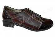 Pantofi dama piele naturala lac croco maro