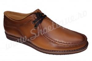 Pantof-mocasin din piele naturala maro vintage
