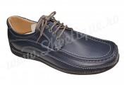 Pantofi cu lira din piele naturala bleumarin