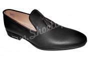 Pantofi cu ciucuri negri din piele naturala