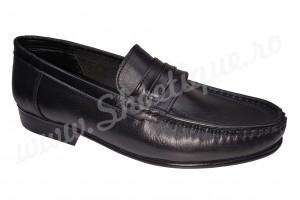 Pantof-mocasin vintage din piele naturala negri