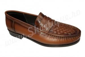 Pantof-mocasin vintage din piele naturala maro impletiti