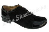 Pantofi dama piele naturala negri lac si velur