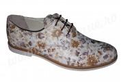 Pantofi dama piele naturala alba cu imprimeu floral