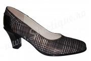 Pantofi cu toc din piele naturala intoarsa imprimata