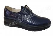 Pantofi dama din piele naturala croco si talpa ortopedica bleumarin