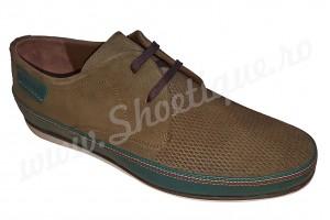Pantofi barbati casual din piele naturala kaki