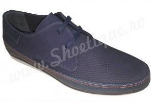 Pantofi albastri barbati casual din piele naturala
